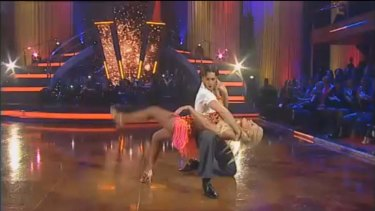 Getting down ... Brynne Edelsten during her routine.