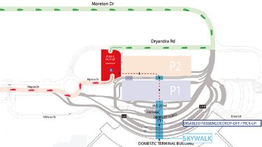 A map of the Brisbane Domestic Airport's new pick-up area, which angered passengers.