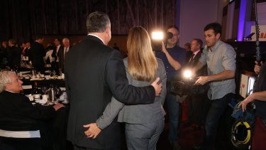 Treasuer Joe Hockey with his wife Melissa Babbage after his post budget speech in Canberra on Wednesday.