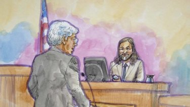 Apple attorney Harold McElhinny, left, questions Apple designer Christopher Stringer in this court sketch during a high profile trial between Samsung and Apple in San Jose, California