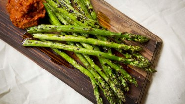 Grilled Asparagus with Romesco Sauce.