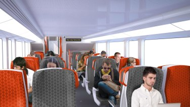 The intercity trains will have two-by-two seating on the upper and lower decks.