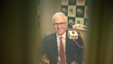 Prime Minister Malcolm Turnbull during a radio interview. Photo: Alex Ellinghausen