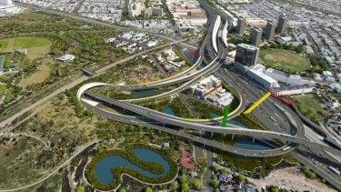 An artist's impression of the $6.8 billion East West Link in Melbourne.