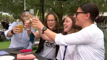 Celebrations have kicked off around Melbourne on the city's first day out of lockdown.