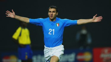 True blue: Christian Vieri celebrates scoring for Italy against Ecuador in the 2002 World Cup.
