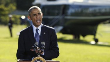 US President Barack Obama delivers a statement at the White House in Washington on the air strikes in Syria.