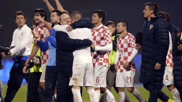 Croatia's players celebrate their victory against Iceland.