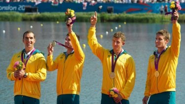 Australia's gold medal winning K4 team: (from left) Tate Smith, Dave Smith, Murray Stewart  and Jacob Clear.