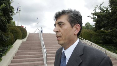 Acting Syrian ambassador Jawdat Ali outside Parliament House in Canberra after talking to Foreign Minister Kevin Rudd yesterday.