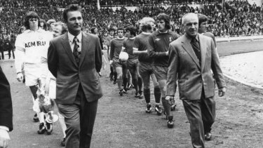 David Pearce's men: Leeds manager Brian Clough, left, and Bill Shankly, Liverpool, leading their teams out for the 1974 Charity Shield at Wembley.