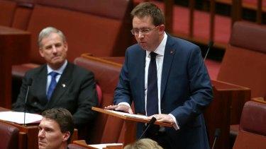 Senator James McGrath delivers his first speech. Photo: Alex Ellinghausen