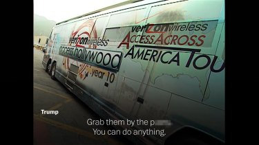 The 2005 Access Hollywood video includes audio of Billy Bush and US President Donald Trump having a conversation inside the bus, as well as audio and video once they emerge from it to begin shooting the segment.