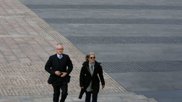 Malcolm and Lucy Turnbull arrive for the memorial service for the victims of MH17.