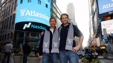 Atlassian co-founders Scott Farquhar (left) and Mike Cannon-Brookes are taking a long term view to Atlassian's growth after listing on the Nasdaq last year.