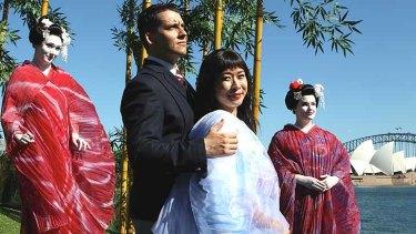 Set on a harbour: Hyeseoung Kwon (CIo-Cio-San), Andeka Gorrotxategi (Pinkerton) and geishas Jade Moffatt and Kathryn Radcliff.