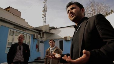 Shafiq Nazari, 38, from left, Shirullah Mirzamik, 23, and Sardar Khan, 26. Afghan interpreters who haven't been granted visas despite serving alongside US soldiers.