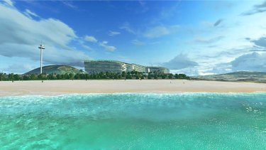 An artist's impression of Clive Palmer's planned hotel on the Sunshine Coast.