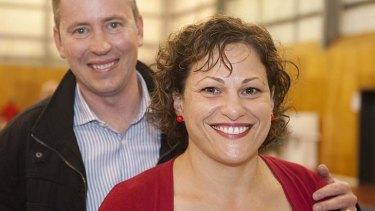 Labor Candidate for South Brisbane  Jackie Trad with her husband Damien Van Brunschot.