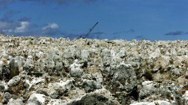 Phosphate mining in Nauru has left an arid landscape.