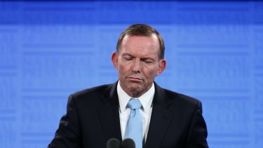 Prime Minister Tony Abbott addresses the National Press Club in Canberra on Monday.