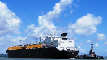 The Methane Rita Andrea docked at Curtis Island to collect its world-first cargo.