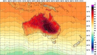 Heating up: the Bureau of Meterology's prediction for Australia at 5pm AEDT today.