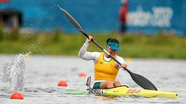 Alana Nicholls of Australia competes in the K1 500m sprint semi-finals.