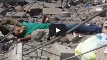 A still from a video, distributed by a Palestinian activist group, the International Solidarity Movement, alleging that Khalil Salem Shammaly had been shot by an Israeli sniper.