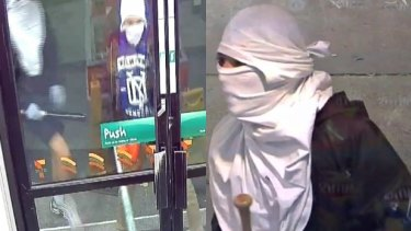 The men are caught on camera outside a 7-Eleven in Upwey.
