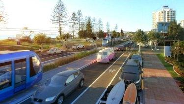 An artist's impression of light rail on Alexandra Parade on the Sunshine Coast.