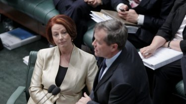 Then Prime Minister Julia Gillard and Bill Shorten during question time in August 2012.