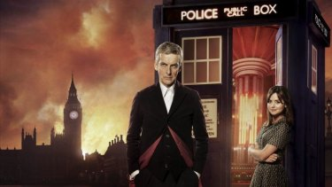 Call the Doctor: Peter Capaldi andJenna Coleman star in the new series of <em>Doctor Who</em>.