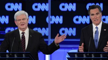 """The Republican rivals debate in Florida ... Mitt Romney suggested illegal immigrants should leave voluntarily and join the queue for legal entry, a proposal Newt Gingrich described as """"fantasy""""."""