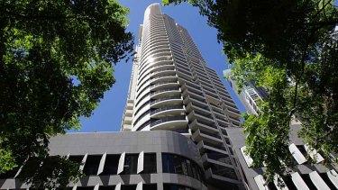 "Meriton Tower on George Street. Elizabeth Farrelly says it  is Harry Seidler's ""worst"" building."