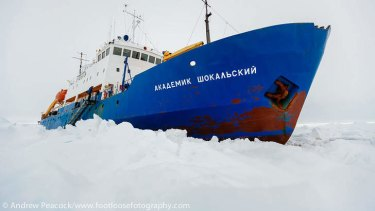 MV Akademik Shokalskiy trapped in the ice at sea off Antarctica.