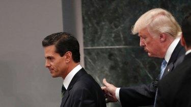 Donald Trump with Mexico's President Enrique Pena Nieto.