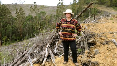Friends of Gippsland Bush secretary Susie Zent  at College Creek in the Strzelecki Ranges, which was clear felled after the Victorian  Government reneged on a deal to protect it.