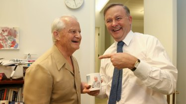 Liberal MP Philip Ruddock with Labor MP Anthony Albanese on Wednesday.