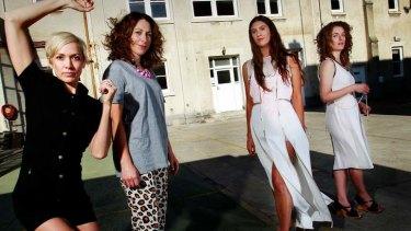 From left, KAGE's Kate Denborough and designer Lisa Gorman with BalletLab dancer Brooke Stamp and designer Susan Dimasi.