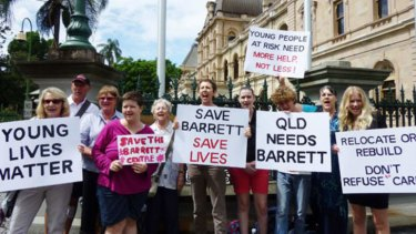Supporters of the Barrett Adolescent Centre gathered outside Parliament House to protest against its potential closure.