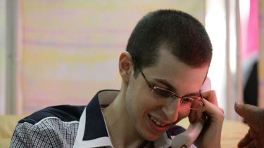 Phone home ... Gilad Shalit speaks to his family.