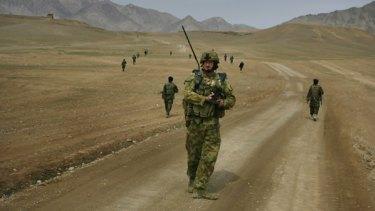Australian troops on patrol in Afghanistan.