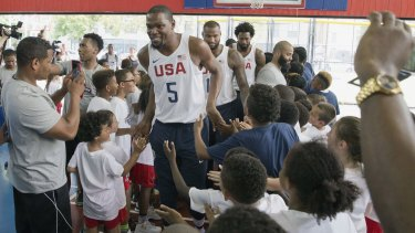 Centre of attention: Kevin Durant in New York last week.