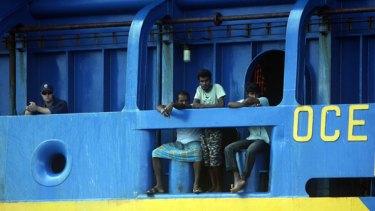 Sri Lankan asylum seekers on the Oceanic Viking.