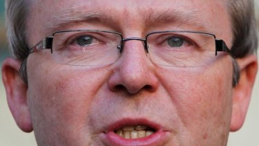 Breaking point ... Kevin Rudd sheds a tear during a press conference after he was deposed by Julia Gillard in June 2010.