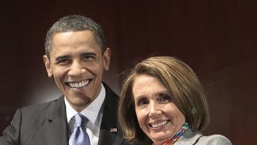 Barack Obama and Nancy Pelosi.