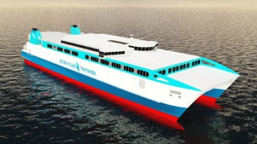 An artist's impression of the mega-catamaran being built by Austal at its Henderson shipyard.