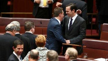 Senator Matthew Canavan is congratulated by Senator James McGrath after delivering his first speech. Photo: Alex Ellinghausen
