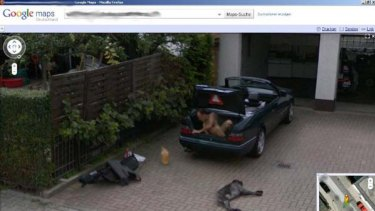 What was he doing? ... A Google Street View image of an apparently naked man in the boot of a car. <i>Screengrab</i>